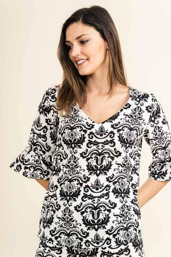 BLUSA MANGA TABLAS ESTAMPADO ORNAMENTAL